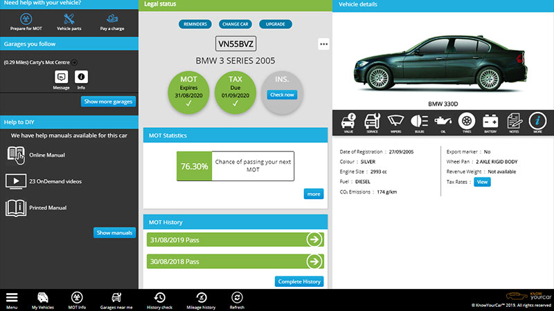 KnowYourCar: MOT check, Vehicle Check app
